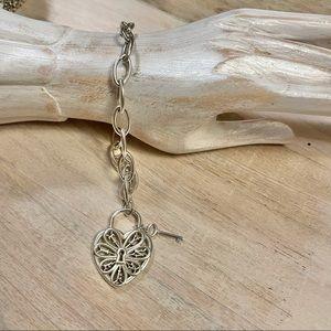Tiffany & CO. Sterling Filigree Heart Key Bracelet